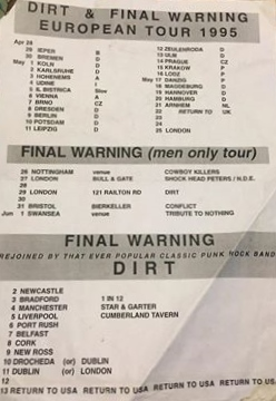 95 Final Warning tour