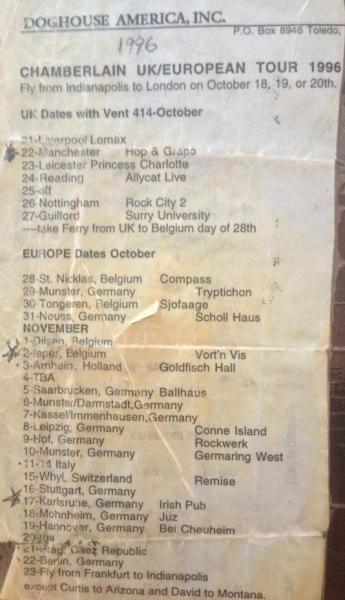 96 Chamberlain tourschedule